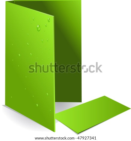Background green visit card and document case with water drops - stock vector