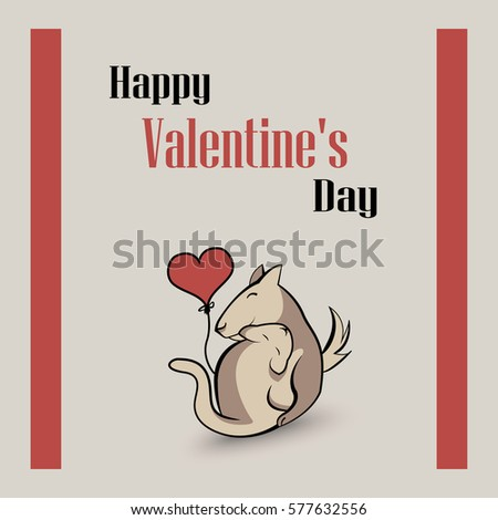 Background - Happy Valentine's Day - Dog and cat with heart