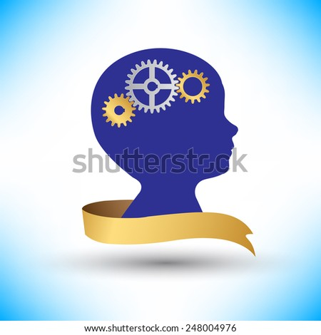 background human head with gears and cogs vector - stock vector