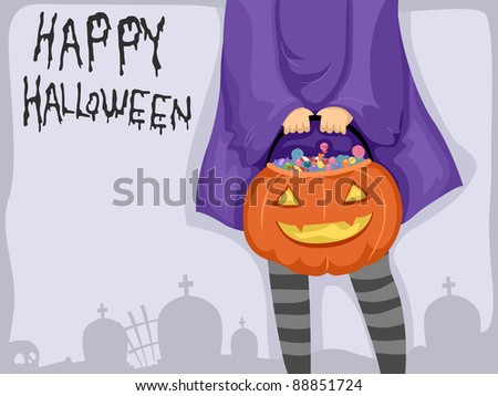 Background Illustration Featuring a Girl Carrying a Basket of Candies - stock vector