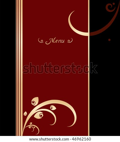 Background illustration for food industry. Red, gold and black vintage menu cover design