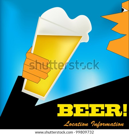 Background illustration in an Art Deco style with a man drinking a glass of beer - stock vector