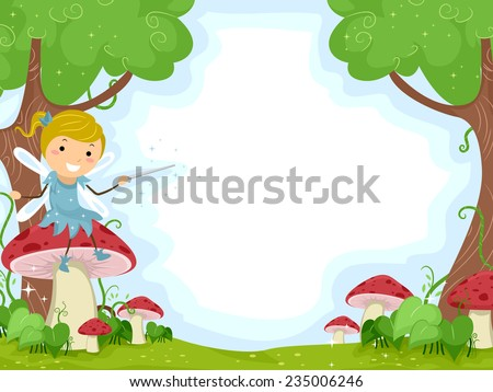 Background Illustration of a Cute Little Fairy Sitting on a Mushroom - stock vector