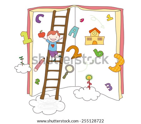 Background Illustration of books. Kid with book. Back to school. - stock vector
