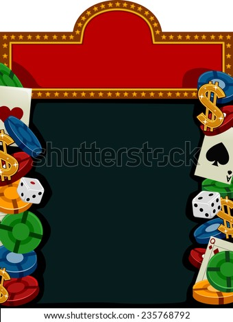 Background Illustration of Different Items Commonly Associated With Casinos - stock vector
