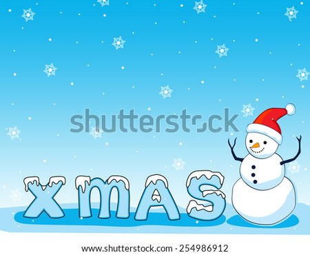 Background illustration of happy smiling snowman on blue falling snow background with x-mas text. snowman wearing red santa hat. - stock vector
