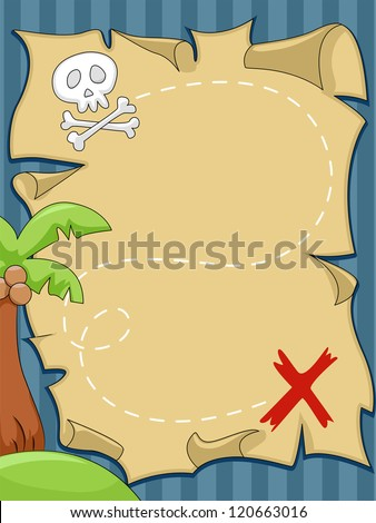 Background Illustration of Pirate Map - stock vector