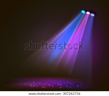 Background image of spotlights with stage in color, vector - stock vector