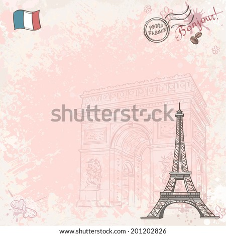 Background image on France with Eiffel tower - stock vector