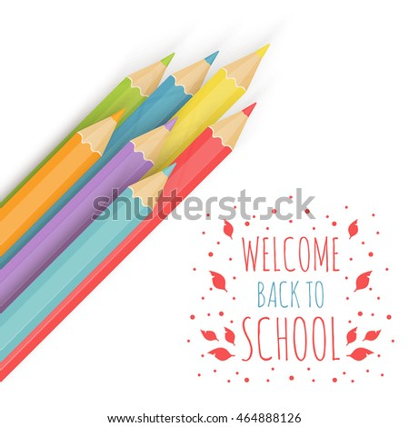 Background image with multicolored penci Welcome Back to School. Vector illustration.
