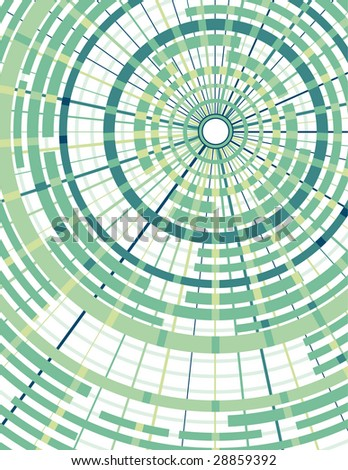 Background in green with concentric circles and radial dividers. - stock vector