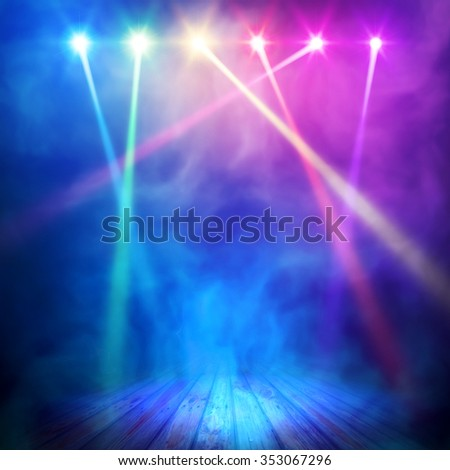 Background in show. Vector interior shined with a projector - stock vector