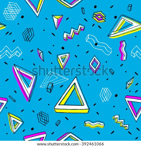 Background in the Memphis style. Seamless geometric pattern. Retro  80's. Textile. Fashion style - stock vector