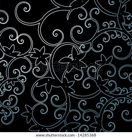 Background leaf pattern swirl vector illustration - stock vector