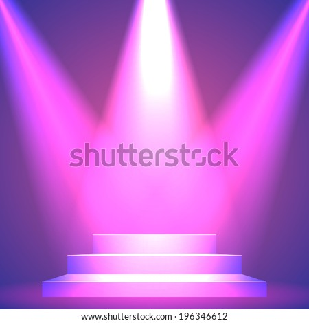 Background: Lights over a pedestal for your business product - stock vector