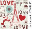 background  love in paris - stock vector