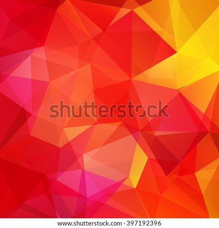 Background made of triangles. Square composition with geometric shapes. Eps 10. Red, yellow colors.  - stock vector