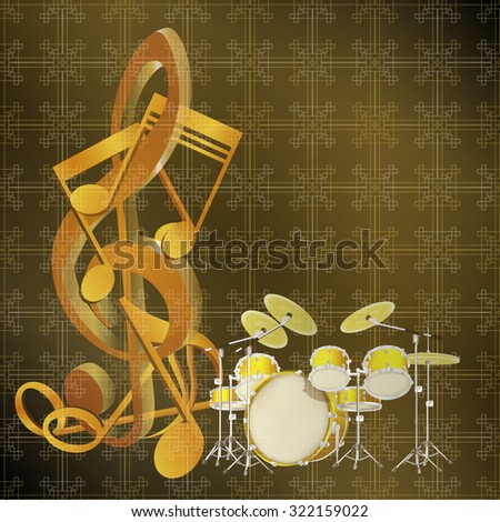 Background music notes on a drum kit and seamless background with pattern. The substrate can be changed under the necessary sizes.It can be used as a layout for posters, advertising and for any text. - stock vector