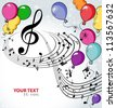 Background music with balloons - stock vector