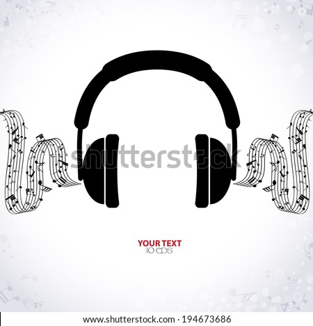 background music with headphones - stock vector