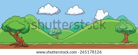 Background of a landscape with hills and trees. Vector illustration. All in a single layer. - stock vector
