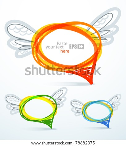 Background of abstract flying talking bubbles - stock vector
