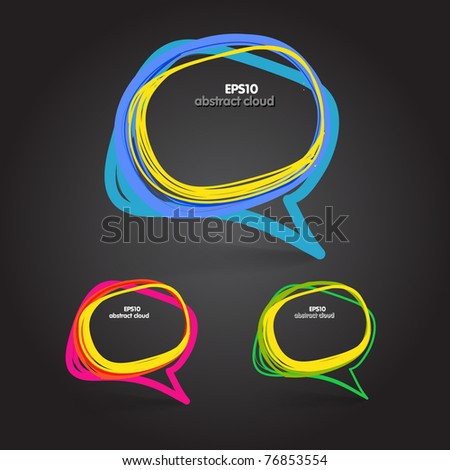 Background of abstract talking bubble on black - stock vector
