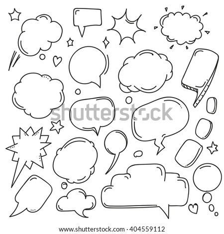 Background of abstract talking bubbles. Set of hand-drawn comic style talk clouds