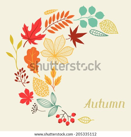Background of autumn leaves in shape for greeting cards. - stock vector