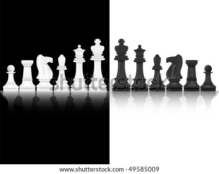 Background of black and white chess pieces - stock vector