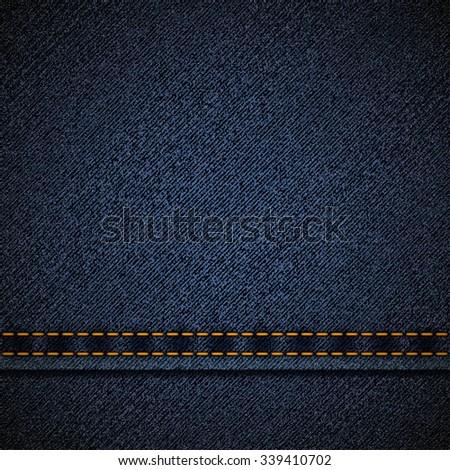 Background of blue denim. Stock vector illustration. - stock vector