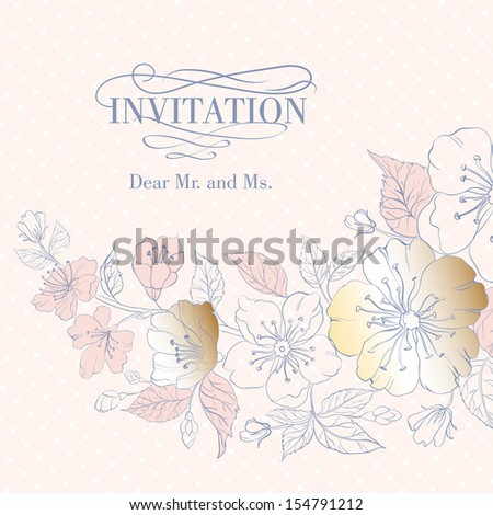 Background of cherry blossoms on pink. Vector illustration. - stock vector