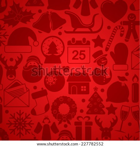 Background of Christmas icons - stock vector