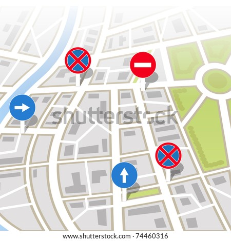 Background of city map - stock vector