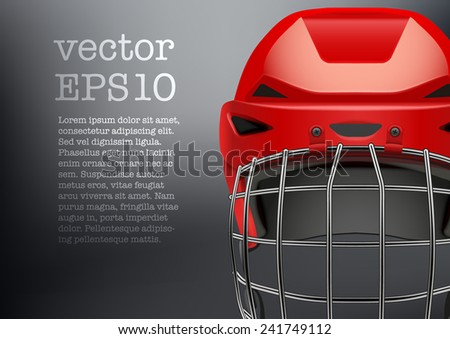 Background of Classic red Ice Hockey goalkeeper Helmet with visor. Sports Vector illustration isolated on white background. - stock vector