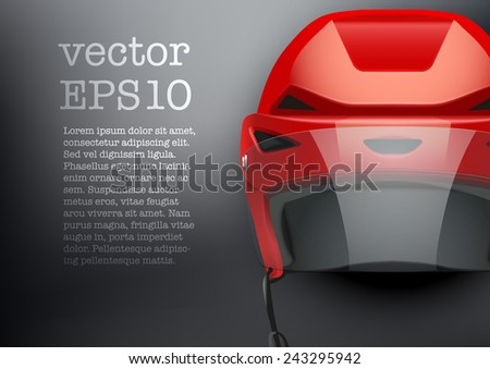 Background of Classic red Ice Hockey Helmet with glass visor. Sports Vector illustration isolated on white background. - stock vector