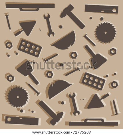 Background of construction tools - stock vector