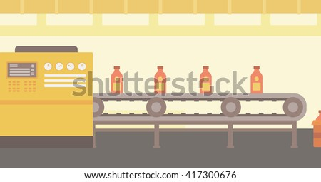 Background of conveyor belt with bottles.