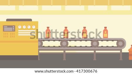 Background of conveyor belt with bottles. - stock vector