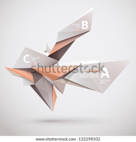Background of 3d geometric shapes. - stock vector