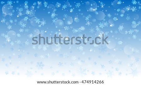 Background of falling white snowflakes on light blue