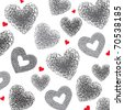 Background of gray hearts on a white. Hand drawn illustration, vector. - stock vector