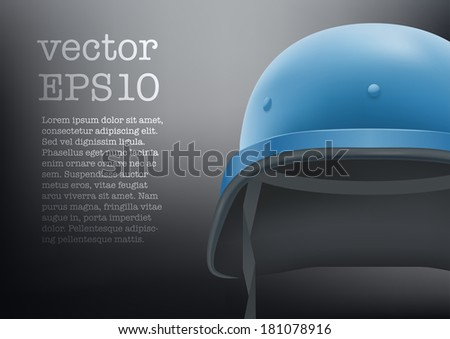 Background of helmet troops of United Nations. Vector illustration. Metallic army symbol of defense and protect. Isolated on white background. Editable. - stock vector
