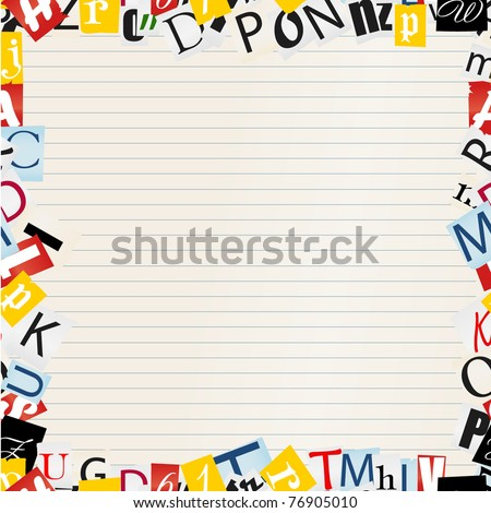 Background of letters frame on paper - stock vector