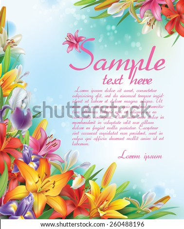 Background of lilies and irises flowers - stock vector