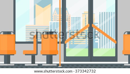 Background of modern empty city bus. - stock vector