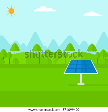 Background of mountains with solar panel. - stock vector