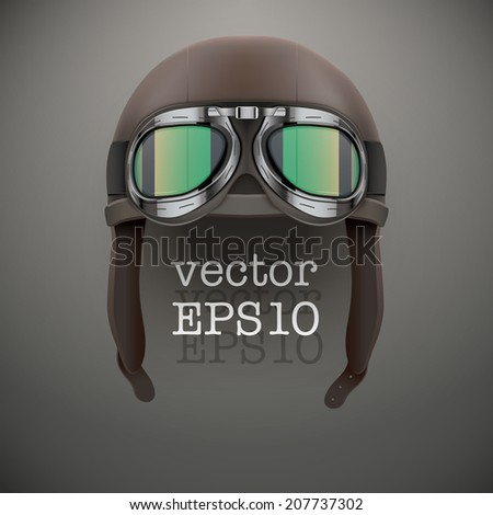 Background of Retro aviator pilot leather helmet with goggles. Vintage object. Vector Illustration. Isolated on white. - stock vector
