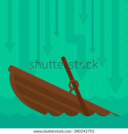Background of sinking boat and arrows moving down. - stock vector