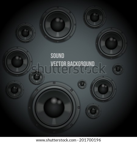 Background of Sound speakers Dynamics. Theme of music. Vector Illustration. - stock vector